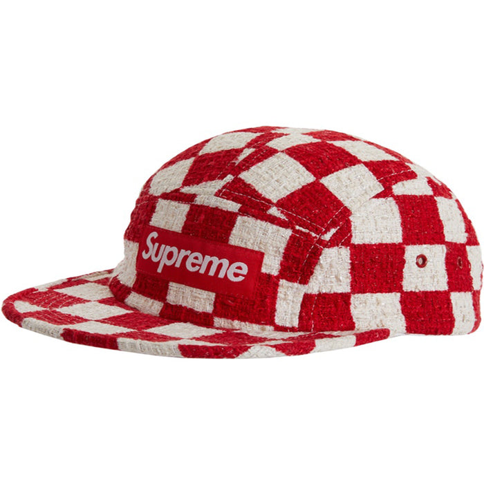 Supreme Checkerboard Boucle Camp Cap Red