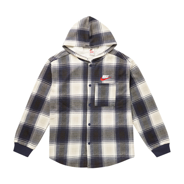 Supreme Nike Plaid Hooded Sweatshirt Navy