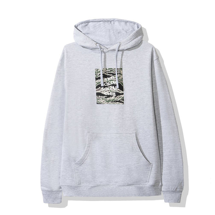 Anti Social Social Club Tiger Camo Box Logo Hoodie Grey