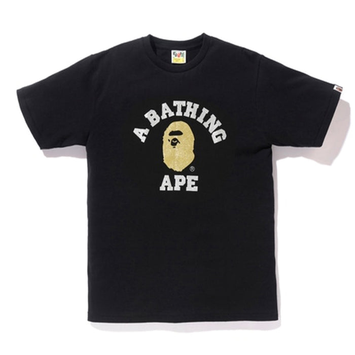 BAPE Glitter College Tee Black/Gold