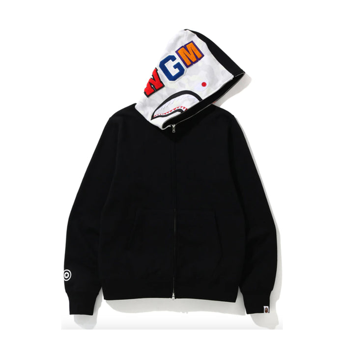 BAPE City Camo Side Shark Full Zip Hoodie Black
