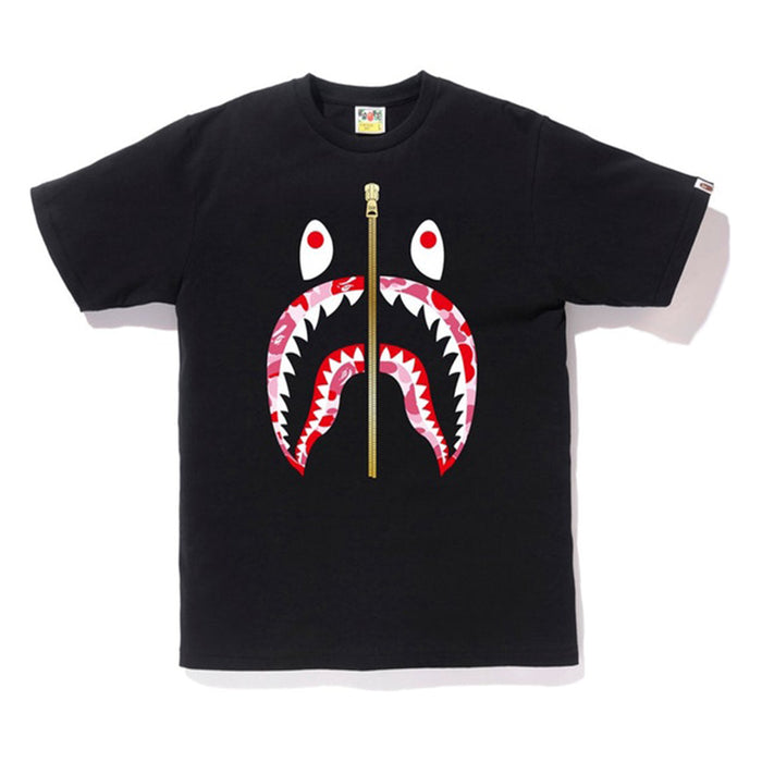 Bape ABC Gold Zip Shark Tee Black/Pink