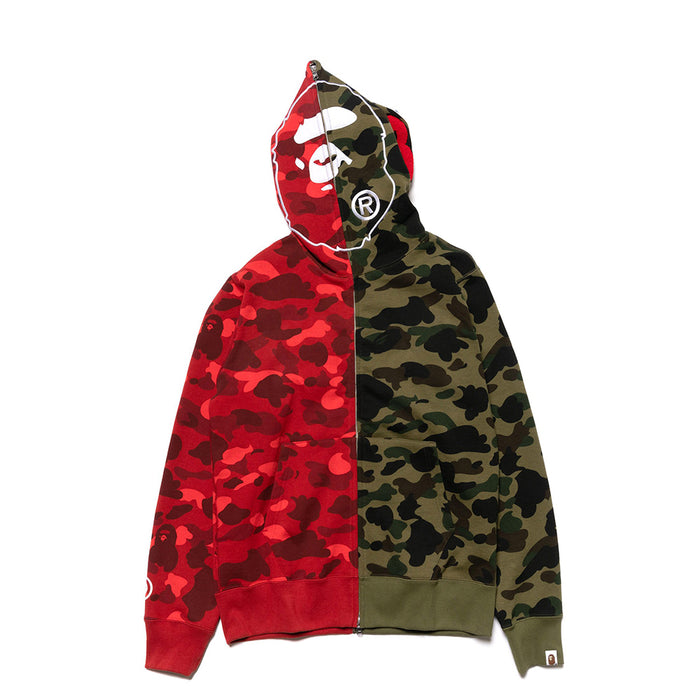 BAPE 1st x Color Camo 2nd Ape Half Full Zip Hoodie Green/Red