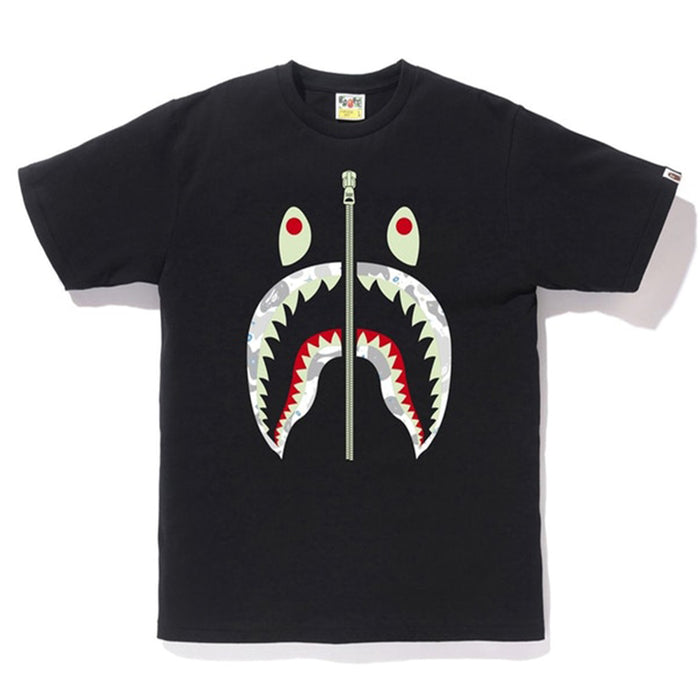 BAPE Space Camo Front Shark Tee Black