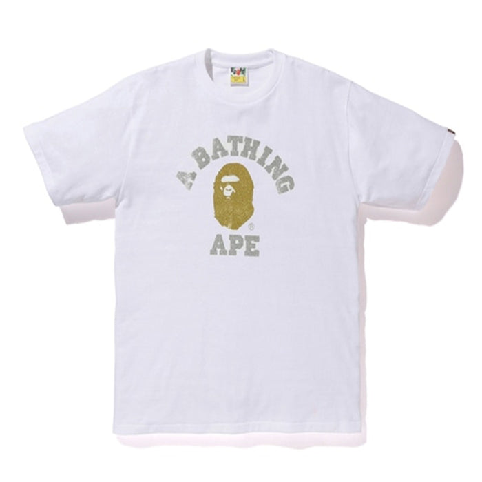BAPE Glitter College Tee White/Gold