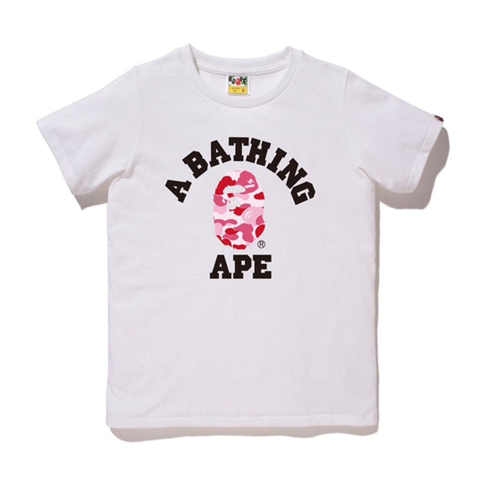 BAPE Abc Camo College Tee Tee (Ladies) White/Pink