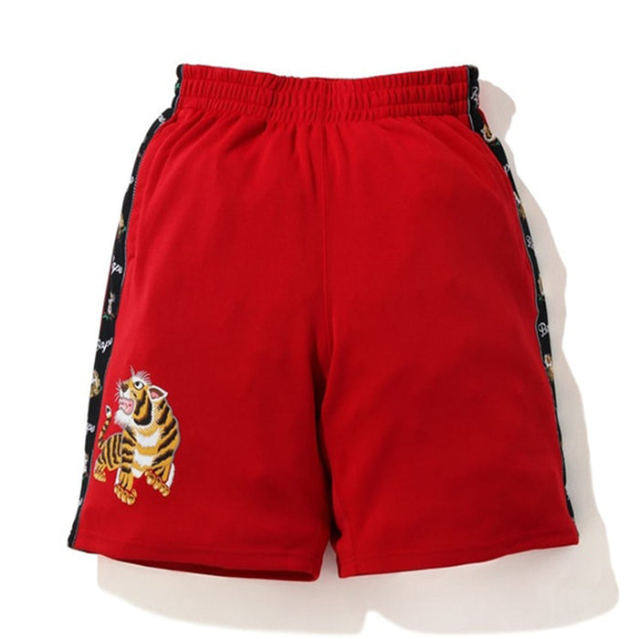BAPE Tiger Jersey Wide Shorts Red
