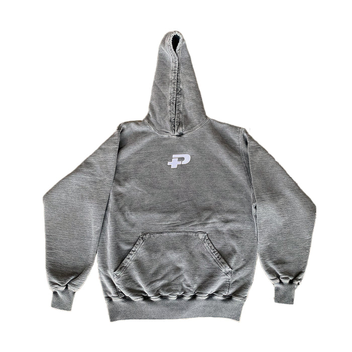 Plus Embroidered Logo Hoodie Washed Grey