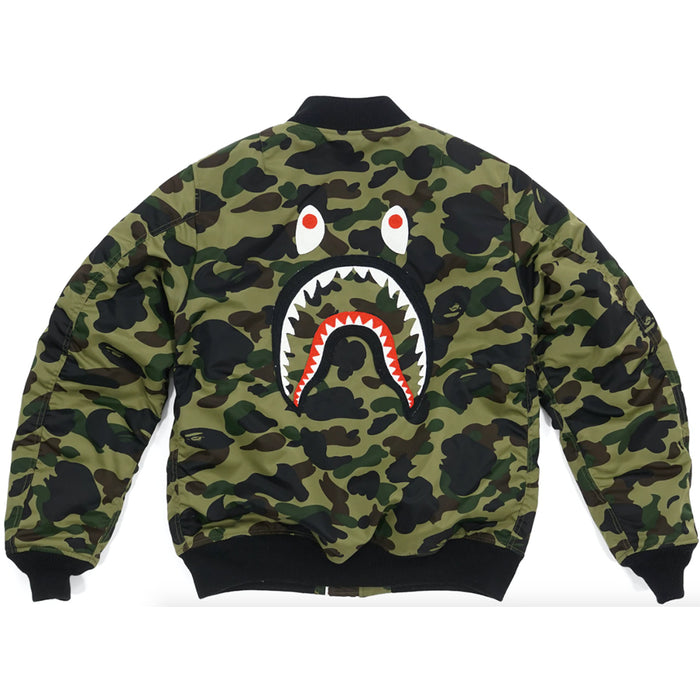 BAPE 1st Camo Back Shark MA1 Jacket Green