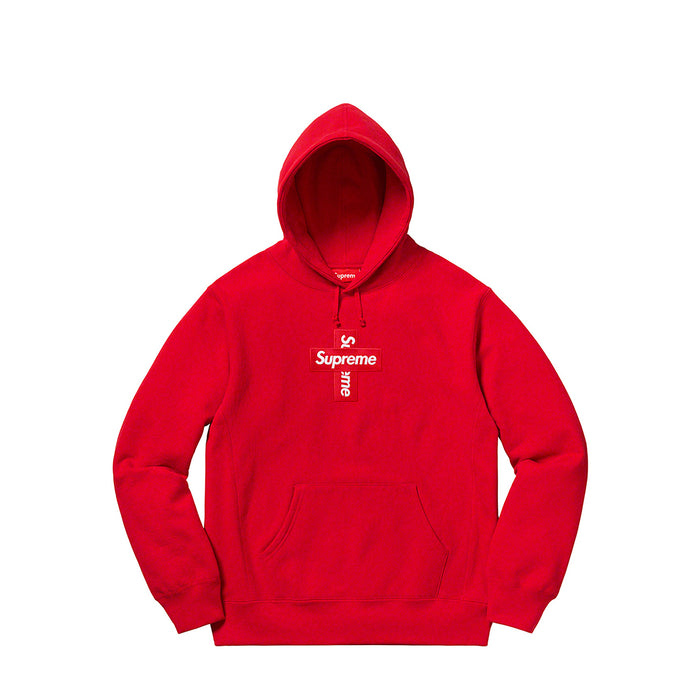 Supreme Cross Box Logo Hooded Sweatshirt Red
