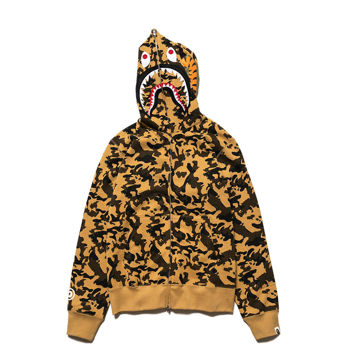 Bape Desert Camo Shark Full Zip Hoodie Yellow