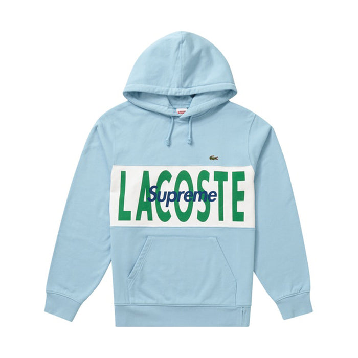 Supreme LACOSTE Logo Panel Hooded Sweatshirt Light Blue