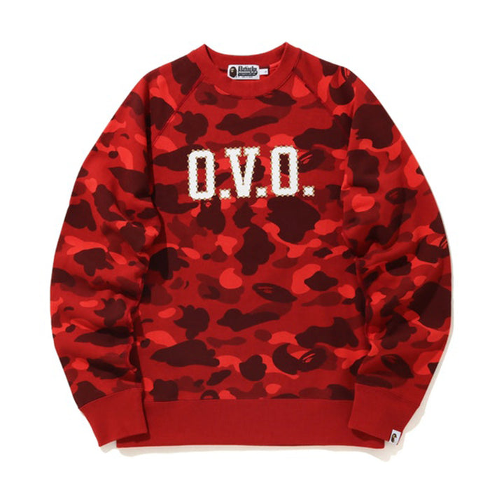 BAPE x OVO Color Camo Crewneck Red