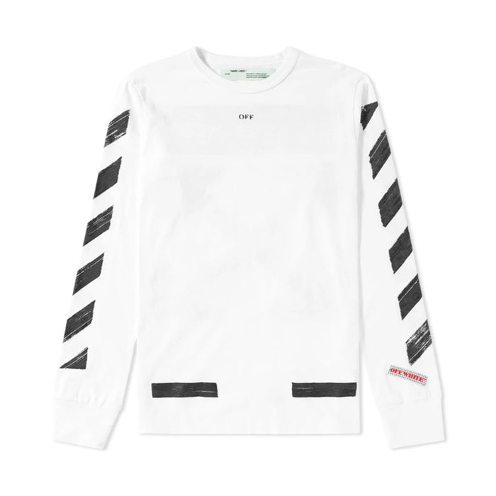 OFF-WHITE Diagonal Brushed L/S Tee White