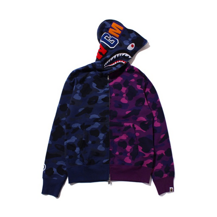 BAPE Full Zip Split Shark Hoodie Purple/Blue