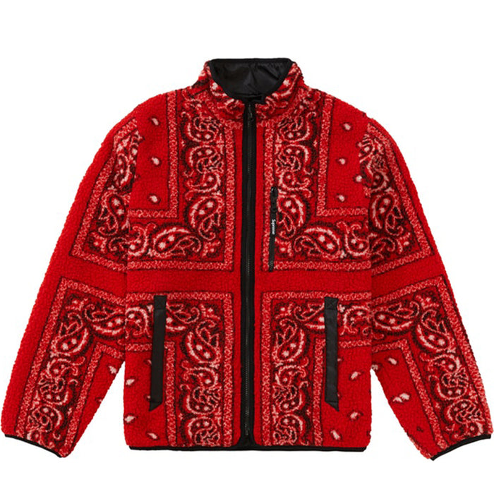 Supreme Reversible Bandana Fleece Jacket Red