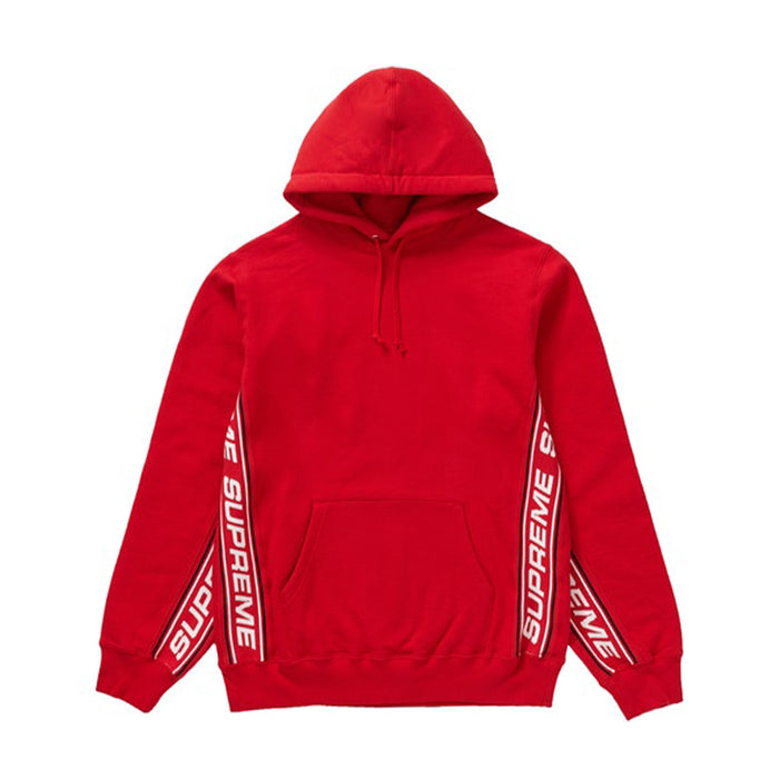 Supreme Text Rib Hooded Sweatshirt Red
