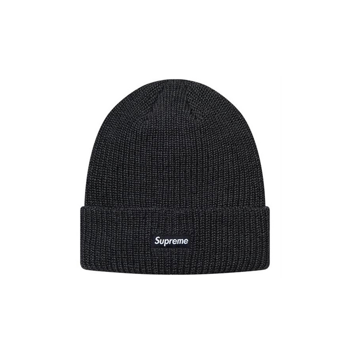 Supreme Heather Loose Gauge Beanie Heather Black