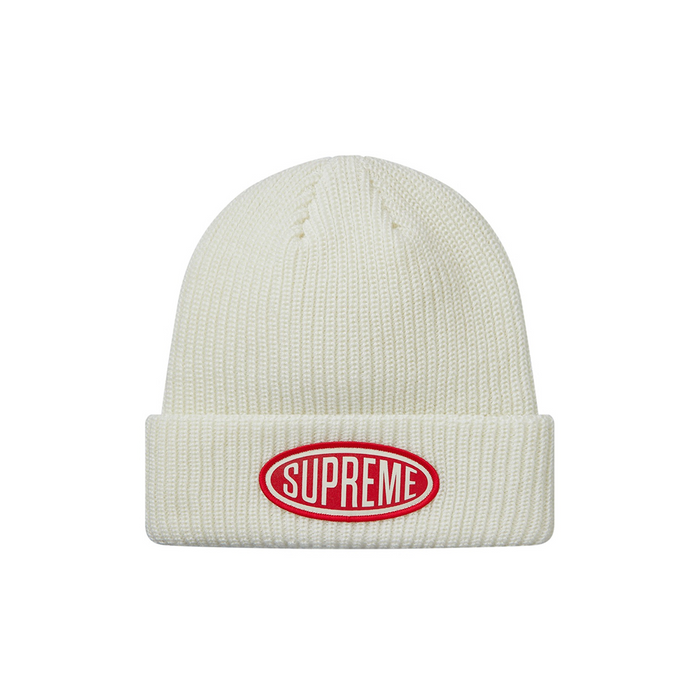 Supreme Oval Patch Beanie White