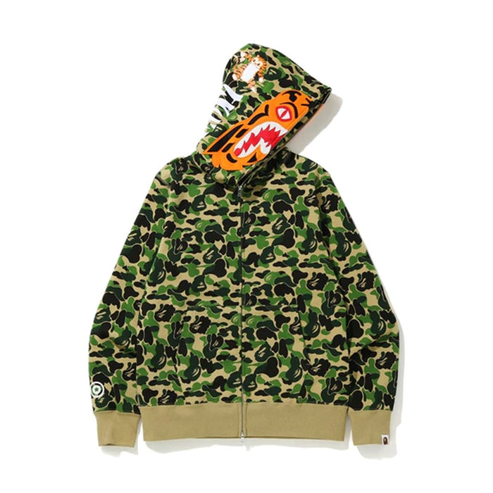 BAPE ABC Camo Tiger Full Zip Hoodie Green