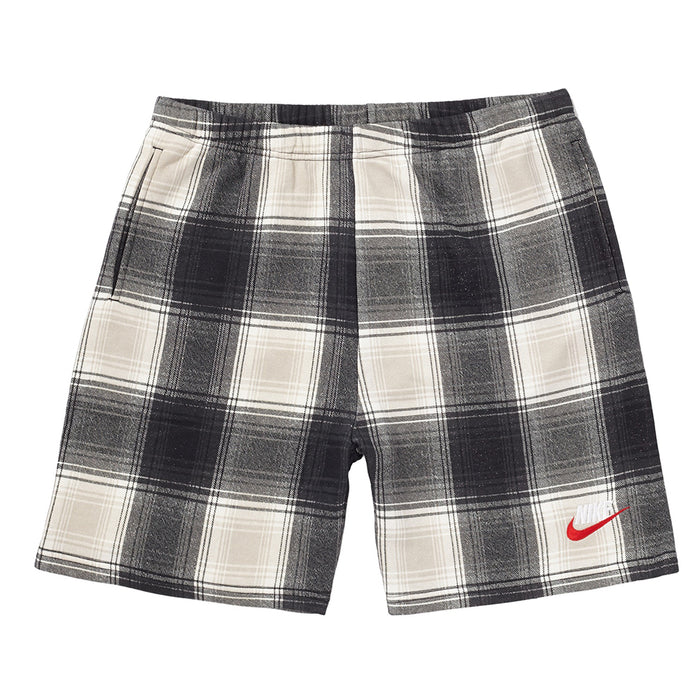 Supreme Nike Plaid Sweatshort Black