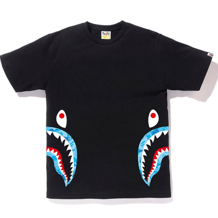 BAPE Fire Camo Side Shark Tee Black/Blue