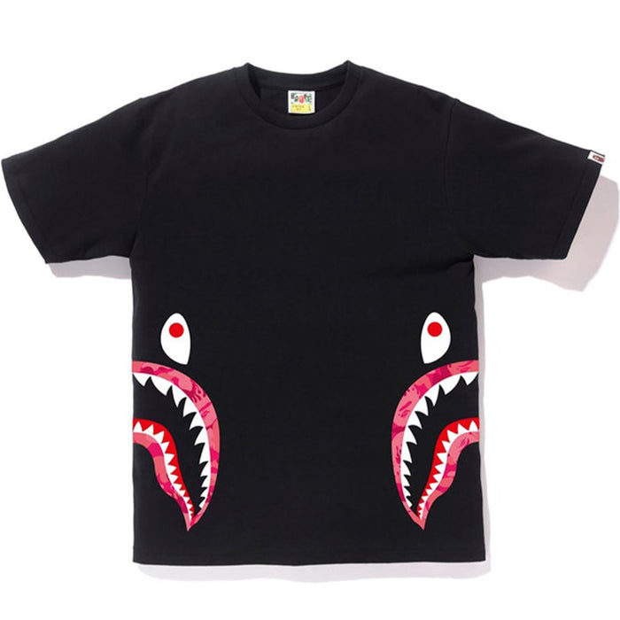 BAPE Fire Camo Side Shark Tee Black/Pink