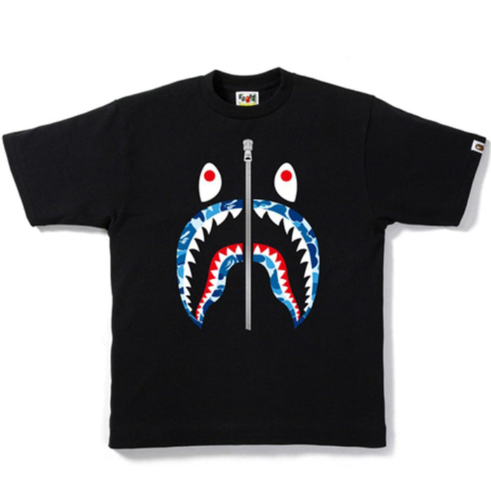 BAPE ABC Shark Silver Zip Tee Black/Blue