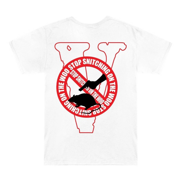 Pop Smoke x Vlone Stop Snitching Tee White/Red