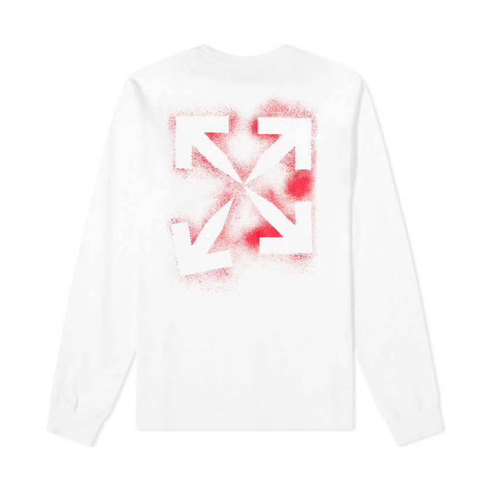 Off-White Stencil L/S Tee White/Red