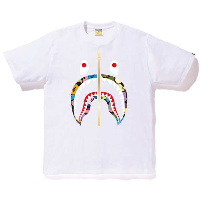 Bape Multi Camo Shark Tee White