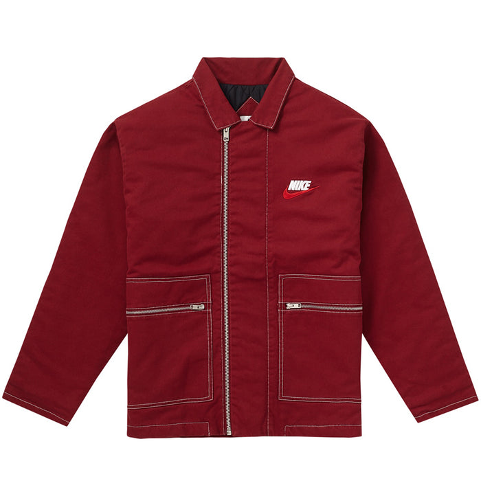 Supreme Nike Double Zip Quilted Work Jacket Burgundy