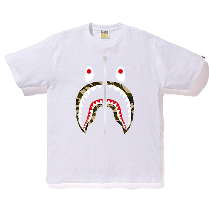 BAPE ABC Shark Silver Zip Tee White/Yellow