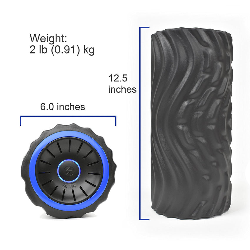 BKBL New Zyllion Vibrating Foam Roller with 4 Intensity Settings – Rechargeable High Density Massager for Post Workout Muscle Recover, Myofascial Release, and Deep Tissue Massage, ZMA-22 (Black/Blue)