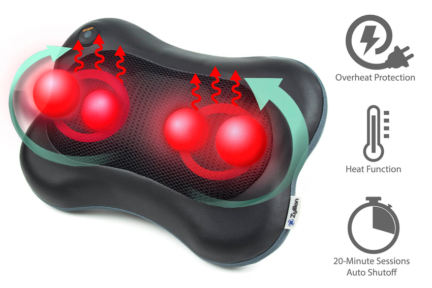 Zyllion Shiatsu Back and Neck Massager with Heat, ZMA-13-BK (Black)
