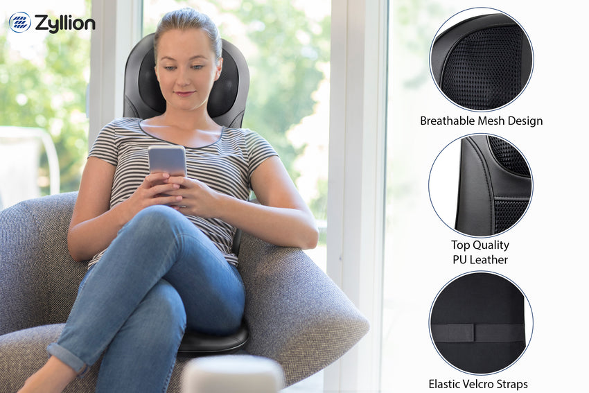 Zyllion Shiatsu Back and Neck Massager Cushion Pad with Soothing Heat Function - Fits Perfectly on Chair - High Intensity Massage with 3 Modes