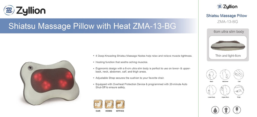 ZMA13BG Shiatsu Massager Pillow with Heat