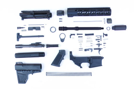 "SA8 'Venom' Series' 10.5"" 1:7 Nitride Barrel 80% Pistol Kit with KAK Brace & Zaviar Slimline Flash Can Kit 10"" M-LOK Handguard"