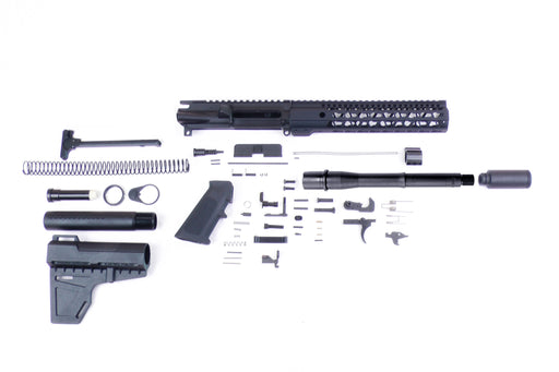 "SA8 'Venom Series' 10.5"" .300 AAC 1:8 Nitride Pistol Builder Kit with KAK Shockwave Blade Stock Kit 10"" KeyMod GEN2 Handguard Zaviar Slimline Flash Can"
