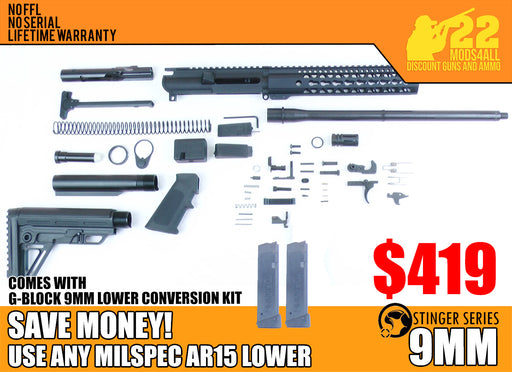"SA9 'Stinger' Series 16"" 9mm Firearm Builder G-Block Conversion Kit with Alpha Stock Kit 10"" Handguard (Glock & Colt Compatible)"