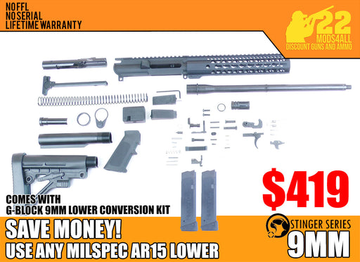 "SA9 'Stinger' Series 16"" 9mm Firearm Builder G-Block Conversion Kit with Predator Stock Kit 10"" Handguard (Glock & Colt Compatible)"