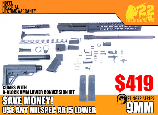 "SA9 'Stinger' Series 16"" 9mm Firearm Builder G-Block Conversion Kit with Alpha Stock Kit 12"" Handguard (Glock & Colt Compatible)"