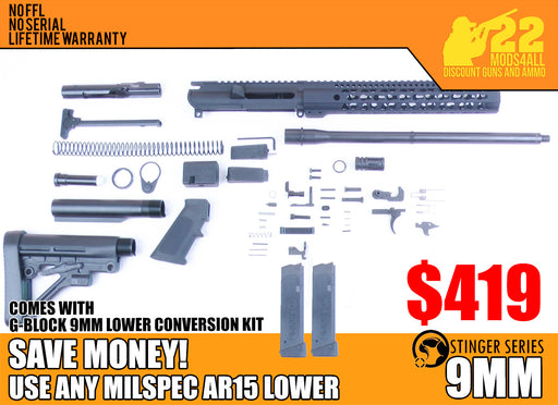 "SA9 'Stinger' Series 16"" 9mm Firearm Builder G-Block Conversion Kit with Predator Stock Kit 12"" Handguard (Glock & Colt Compatible)"