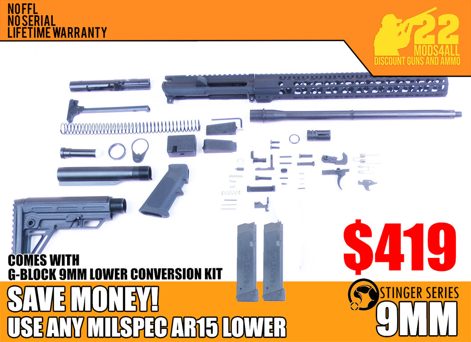 "SA9 'Stinger' Series 16"" 9mm Firearm Builder G-Block Conversion Kit with Alpha Stock Kit 15"" Handguard (Glock & Colt Compatible)"
