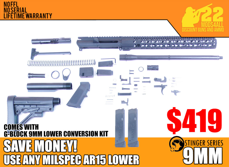 "SA9 'Stinger' Series 16"" 9mm Firearm Builder G-Block Conversion Kit with Predator Stock Kit 15"" Handguard (Glock & Colt Compatible)"