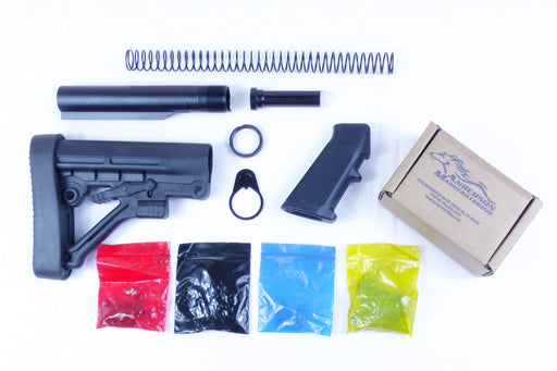 AR-15 Predator Buttstock Lower Build Kit with Anderson Manufacturing Lower Parts Kit - .223/5.56 Black Trigger and Hammer