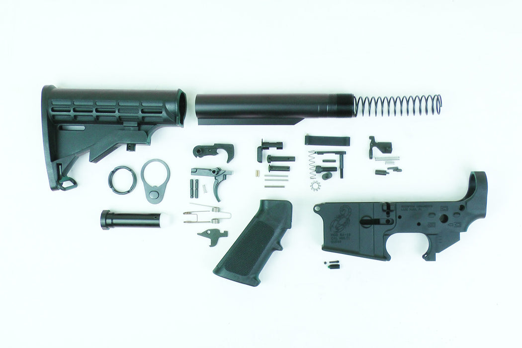 Scorpion Enhanced AR15 Stripped Lower Receiver with Lower Parts Kit and A2 Stock Kit