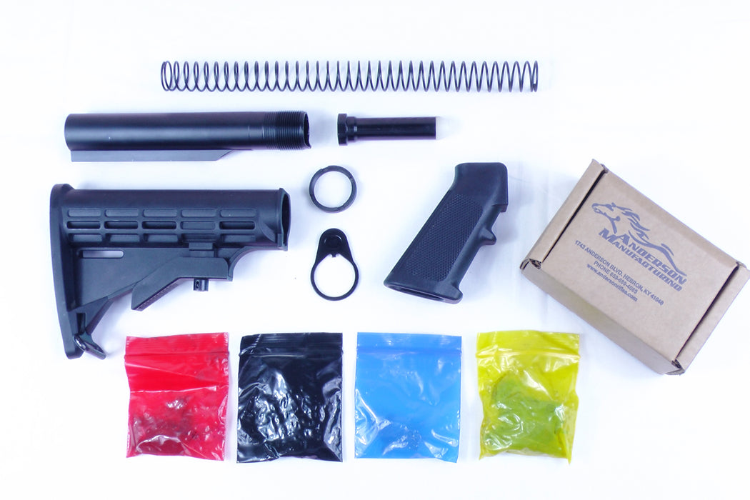 AR-15 Standard Lower Build Kit with Anderson Manufacturing Lower Parts Kit - .223/5.56 Black Trigger and Hammer