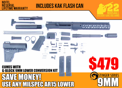 "SA9 'Stinger' Series 7.5"" 9mm Firearm Builder G-Block Conversion Kit with Pistol Tube Stock Kit 10"" Keymod Handguard (Glock & Colt Compatible)"