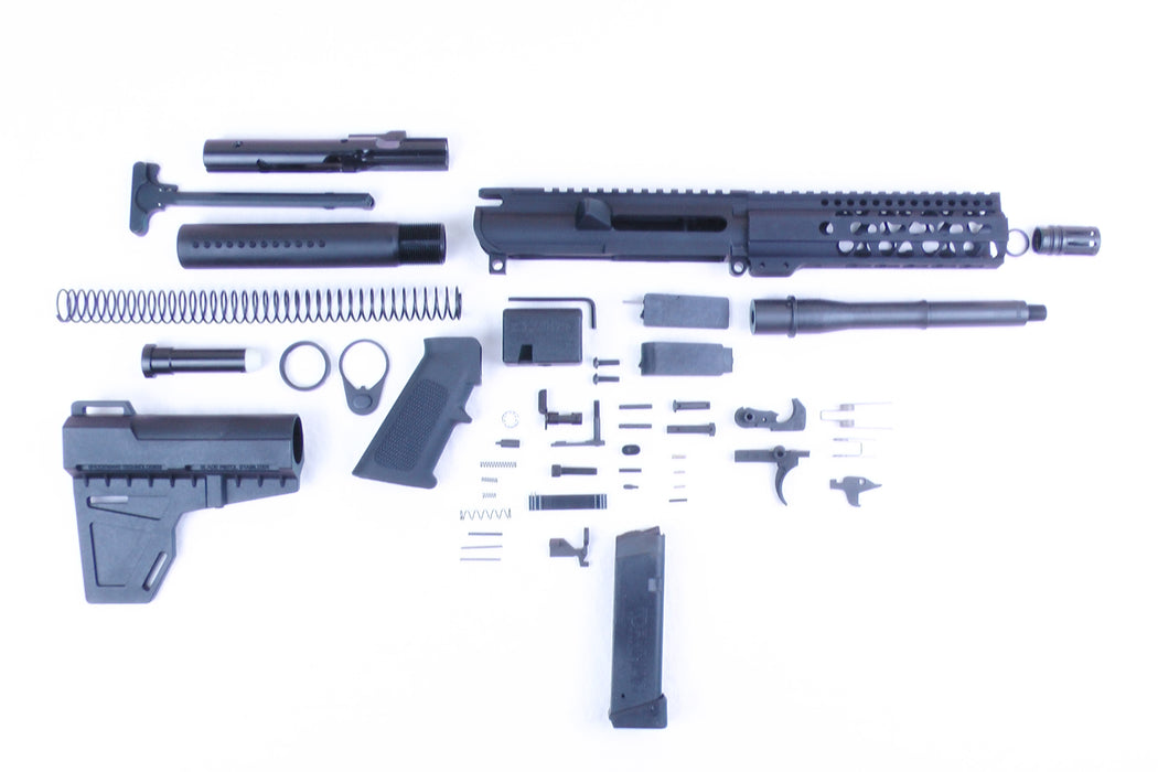 "SA9 'Stinger' Series 8"" 9mm Firearm Builder G-Block Conversion Kit with KAK Shockwave Blade Stock Kit 7"" Handguard (Glock & Colt Compatible)"